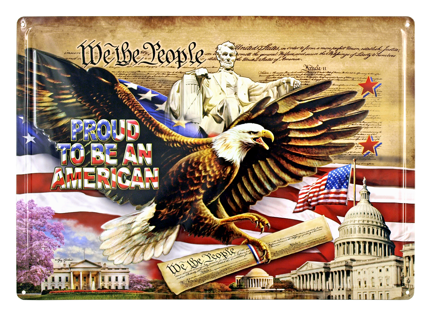 Proud to be an American Metal Tin Sign - We The People
