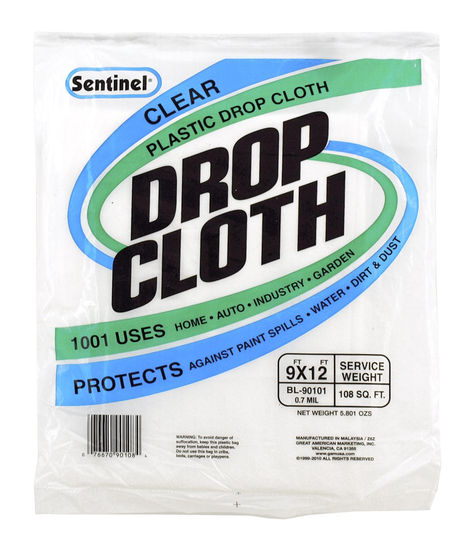 9' x 12' Sentinel Clear Plastic Painting Drop Cloth