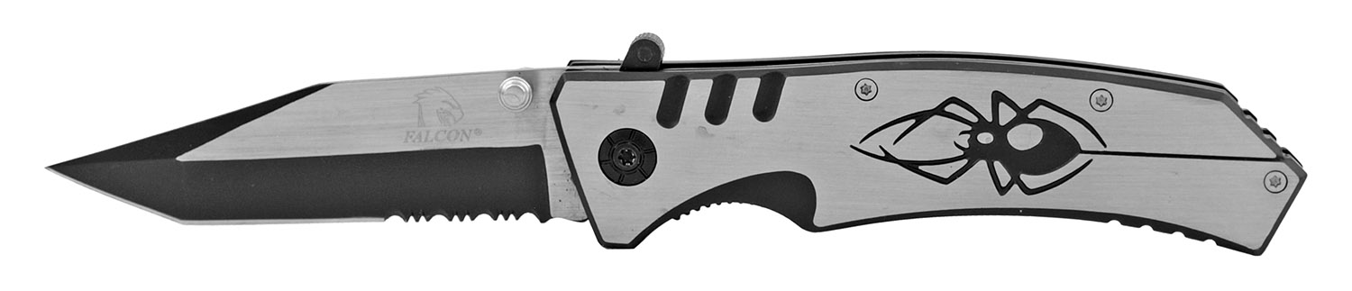 4.75 in American Tanto Stainless Steel Switchblade Folding Pocket Knife - Black Widow