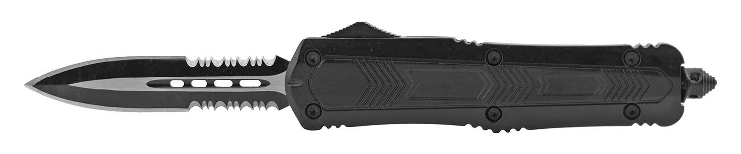 5.5 in Out the Front Telescoping OTF Sliding Pocket Folding Knife - Black