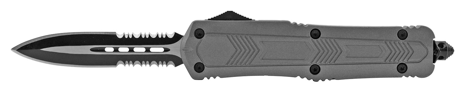 5.5 in Out the Front Telescoping OTF Sliding Pocket Folding Knife - Gray