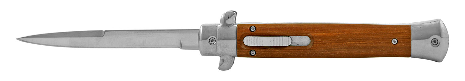 6.25 in Switchblade Styled Out the Front Sliding Pocket Folding Knife - Wooden