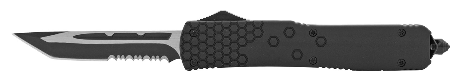 5.13 in Tactical Tetris Grip Out the Front OTF Folding Pocket Knife - Black