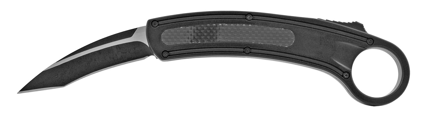 6 in Karambit Fighting Out the Front Telescoping OTF Sliding Pocket Folding Knife - Black
