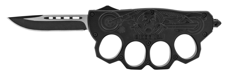 6 in Bad Biker Brassknuckle Style Out the Front Sliding Pocket Folding Knife - Black
