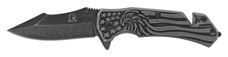 4.75 in Solid Metal Stainless Steel 3D Embossed American Flag Eagle Rescue Folding Pocket Knife - Gun Metal