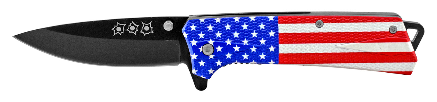 4.75 in Spring Assisted Drop Point Folding Pocket Knife - United States of America Flag