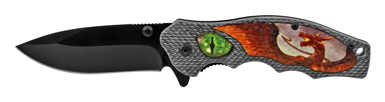 4.5 in Dragon's Eye Spring Assisted Folding Pocket Knife - Green