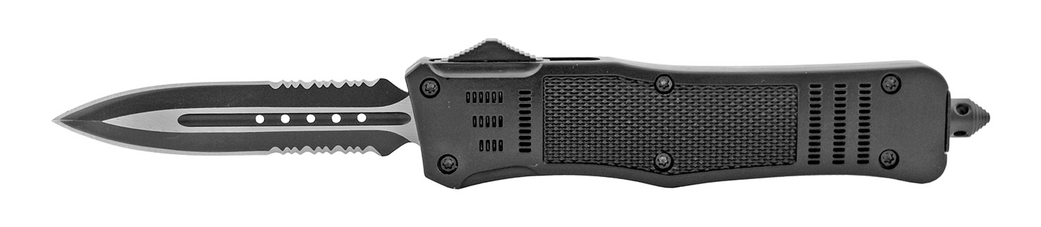 5.5 in Stainless Steel Tactical Automatic OTF Out the Front Dagger Point Survival Knife with Sheath - Black