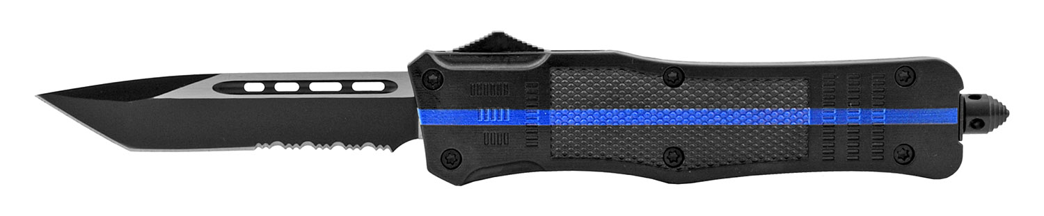 5.5 in Stainless Steel Tactical Automatic OTF Out the Front Dagger Tanto Survival Knife - Blue Line Police Support