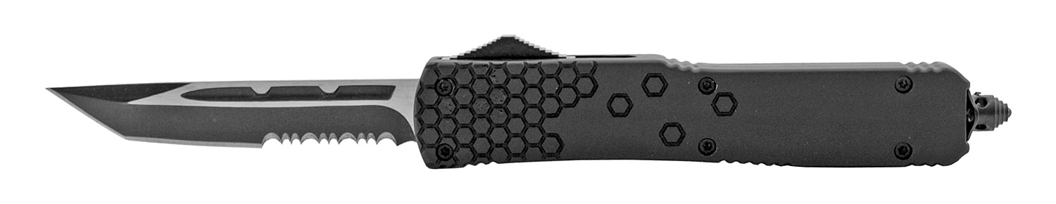 5 in Tactical Automatic Out the Front OTF American Tanto Survival Knife with Nylon Carrying Sheath - Black