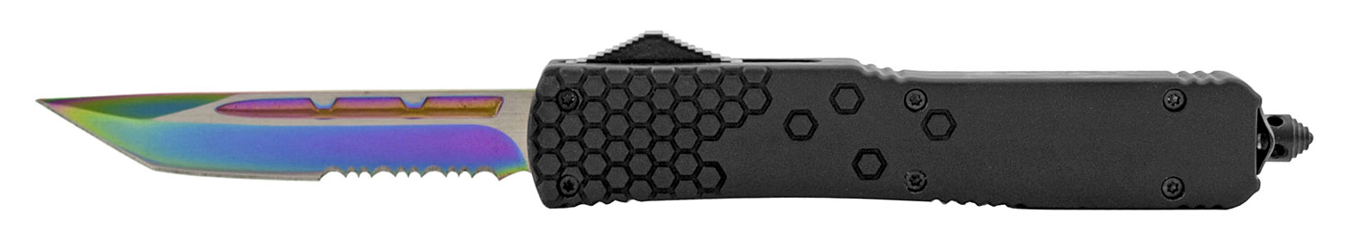 5 in Tactical Automatic Out the Front OTF American Tanto Survival Knife with Nylon Carrying Sheath - Titanium