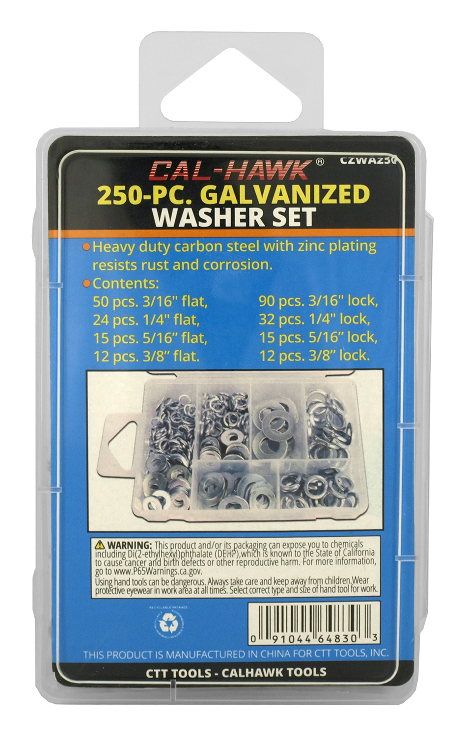 Cal-Hawk 250-pc. Galvanized Washer Set