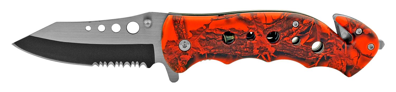4.75 in Stainless Steel Serrated Drop Point Folding Pocket Knife - Hunter's Orange Camo