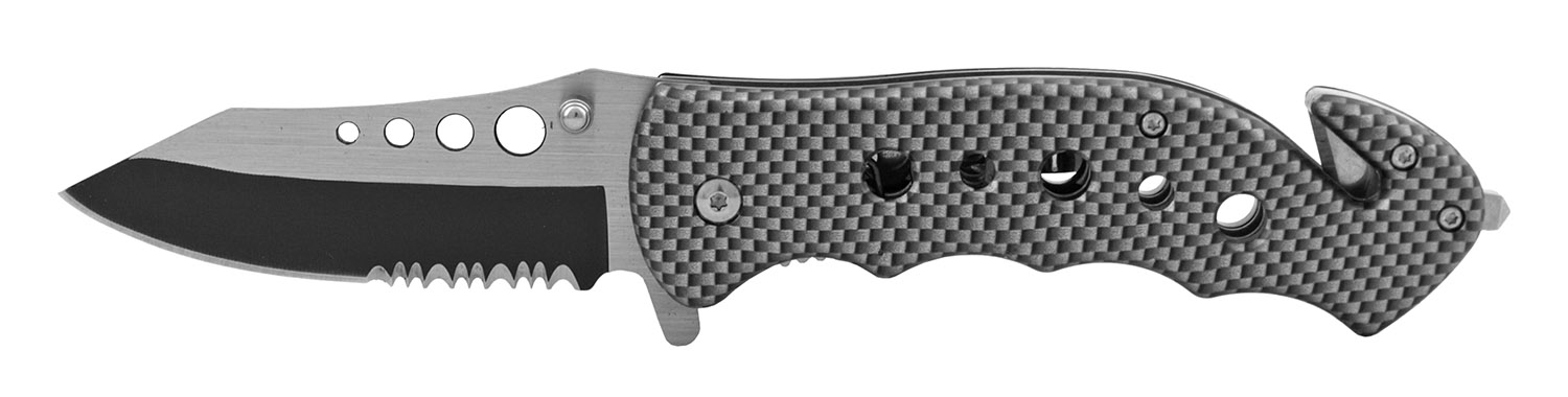 4.75 in Stainless Steel Serrated Drop Point Folding Pocket Knife - Carbon Fiber