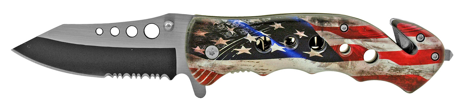 4.75 in Stainless Steel Serrated Drop Point Folding Pocket Knife - American Flag