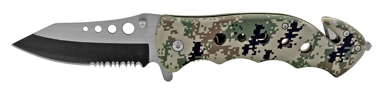 4.75 in Stainless Steel Serrated Drop Point Folding Pocket Knife - Digital Camo