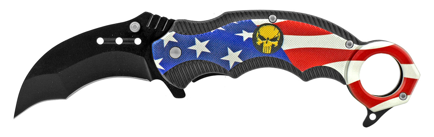 5 in Karambit Tactical Fighting Pocket Knife - USA Flag