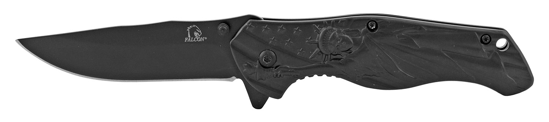 4.75 in Statue of Liberty American Steel Folding Pocket Knife - Black