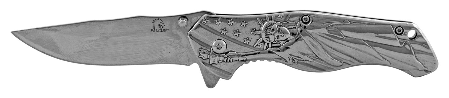 4.75 in Statue of Liberty American Steel Folding Pocket Knife - Chrome