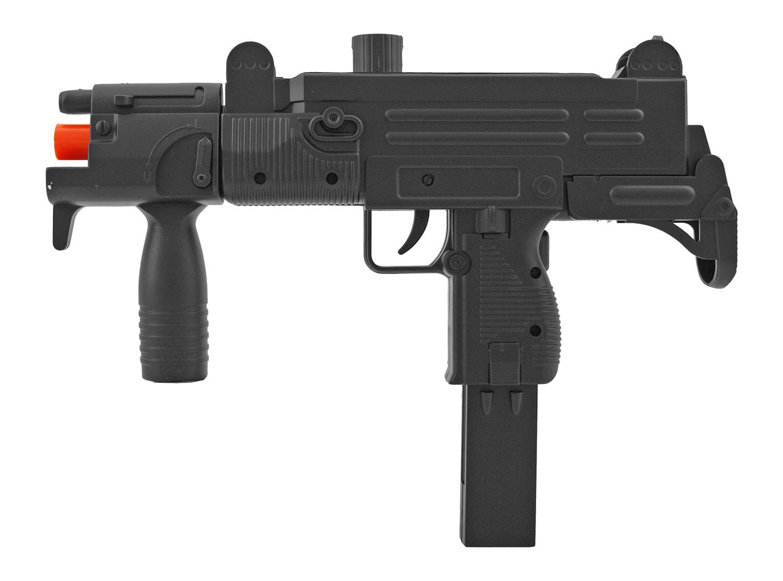 Double Eagle M35 Spring Powered Airsoft Uzi Submachine Gun - Black