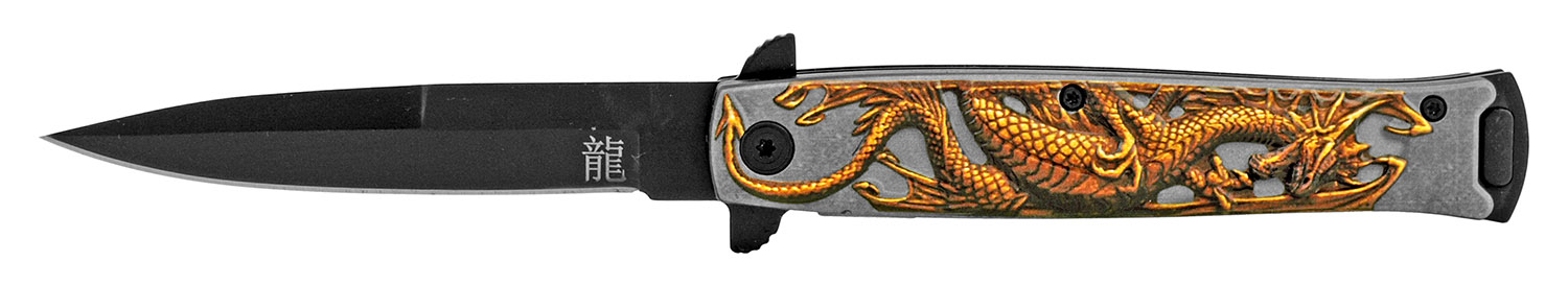 4.75 in Embossed Dragon Folding Pocket Knife - Yellow