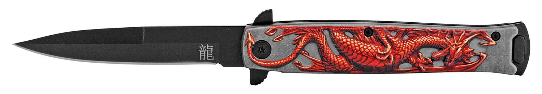 4.75 in Embossed Dragon Folding Pocket Knife - Red