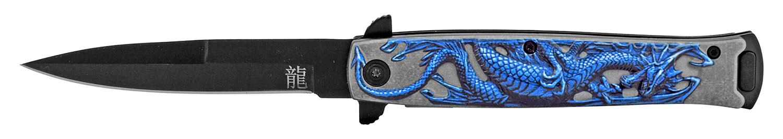 4.75 in Embossed Dragon Folding Pocket Knife - Blue