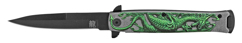 4.75 in Embossed Dragon Folding Pocket Knife - Green