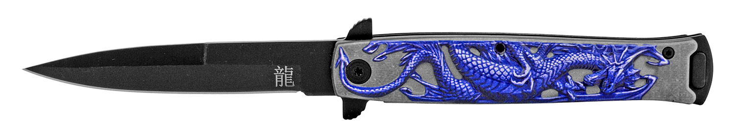 4.75 in Embossed Dragon Folding Pocket Knife - Purple