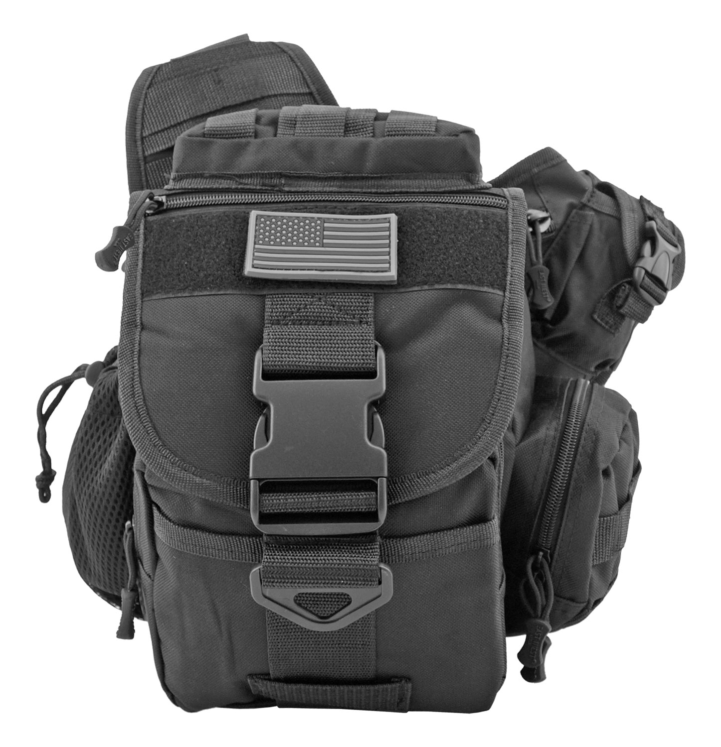 Trail Walker Tactical Over Shoulder Hip Day Bag - Black