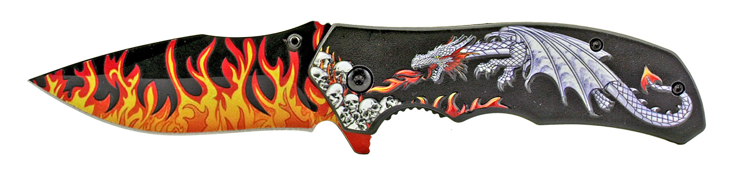 4.75 in Spring Assisted Dragon's Breath Folding Pocket Knife with Belt Clip - Silver