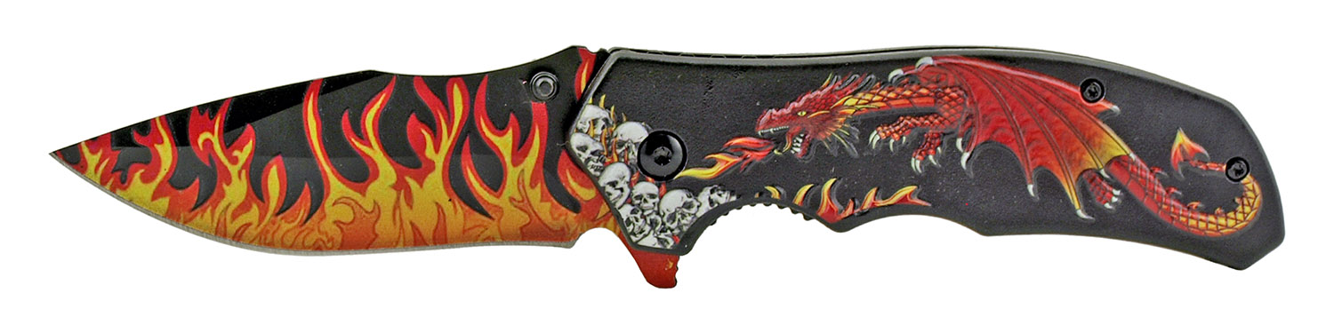 4.75 in Spring Assisted Dragon's Breath Folding Pocket Knife with Belt Clip - Red