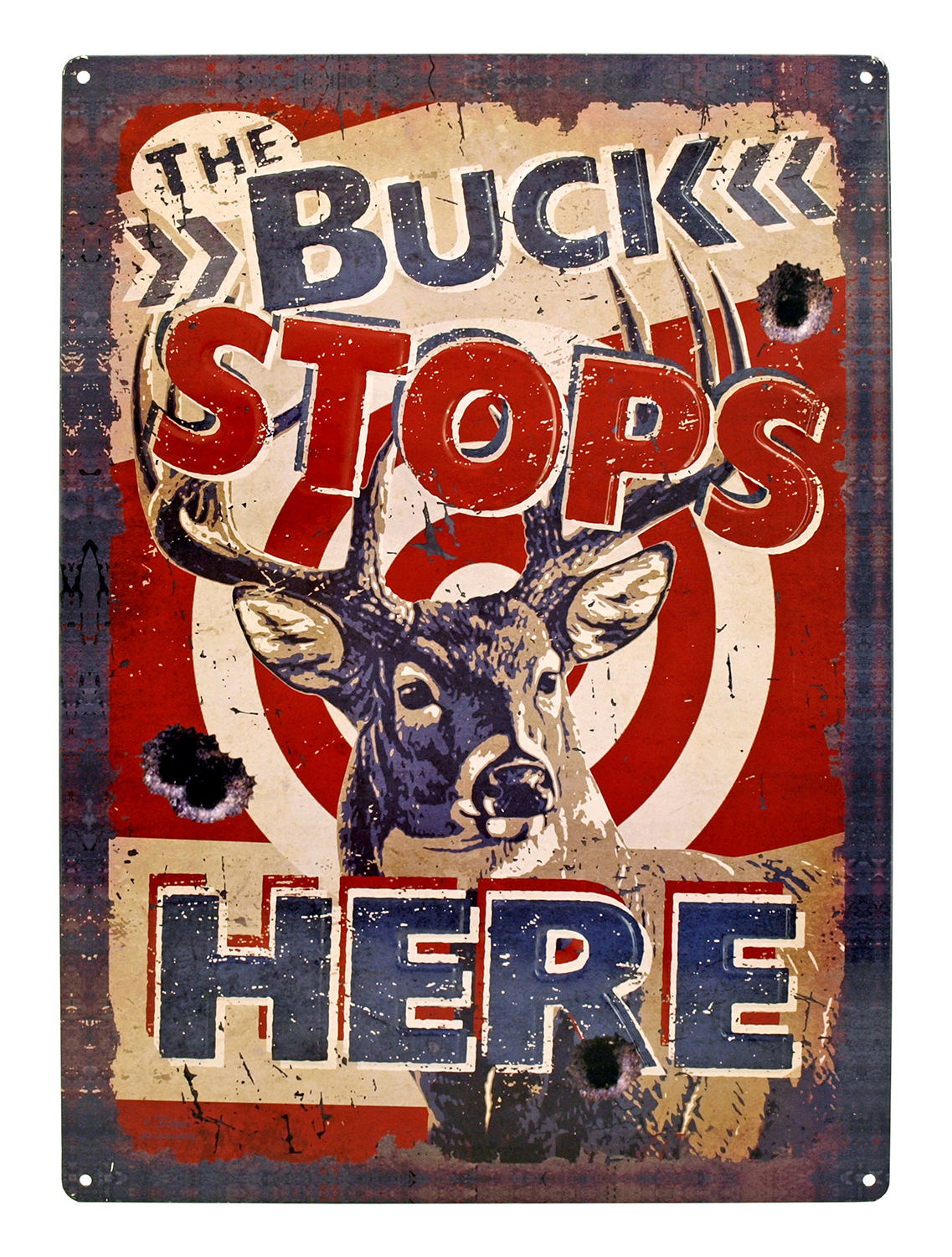 The Buck Stops Here Hunting Tin Metal Sign