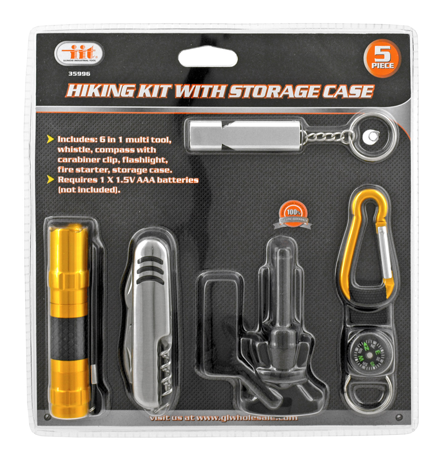 Hiking Kit with Multi Tool, Flashlight, Compass, Carabiner, Whistle and Storage Case
