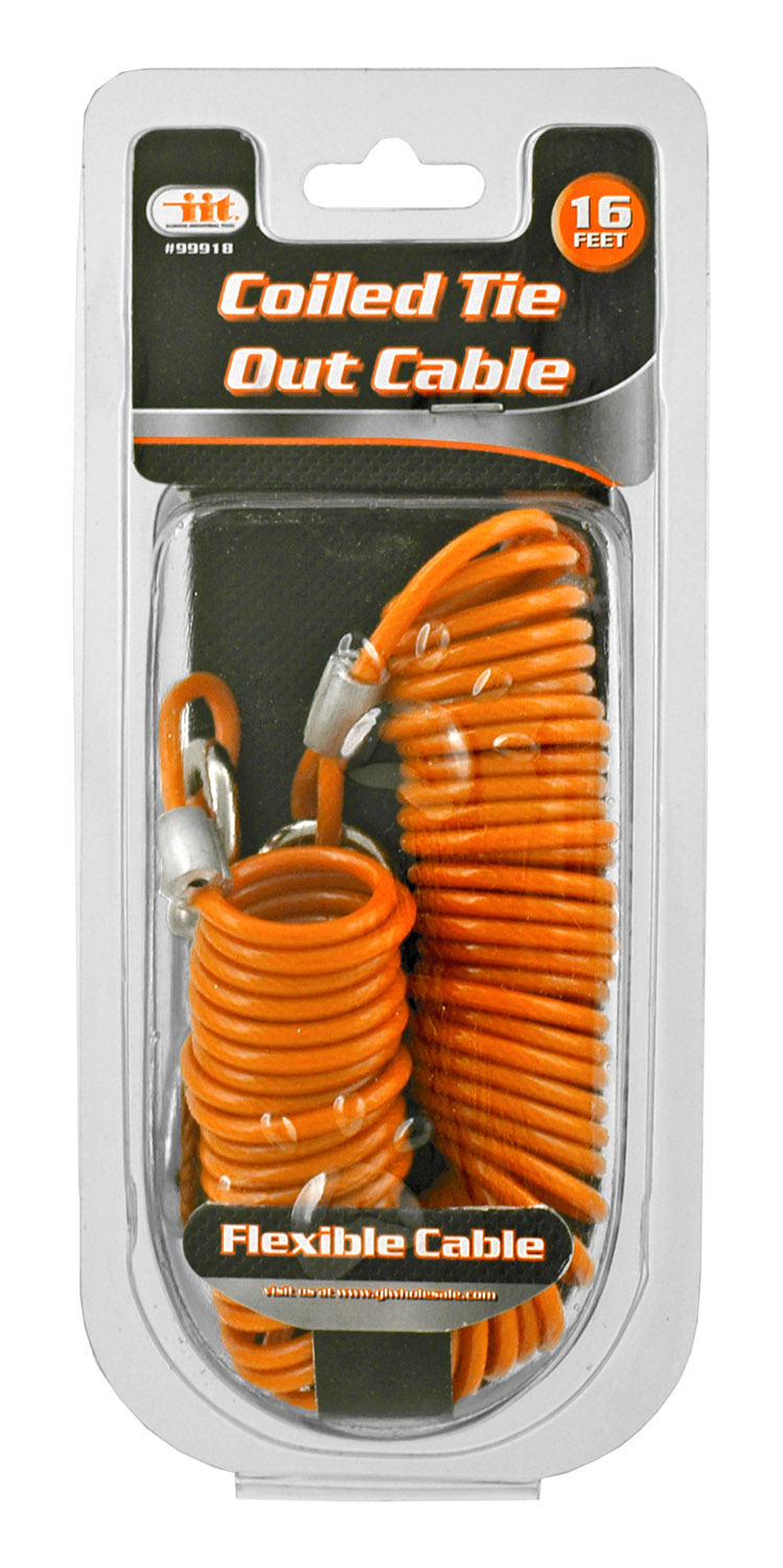 16' Heavy Duty Coiled Tie Out Cable for Dogs