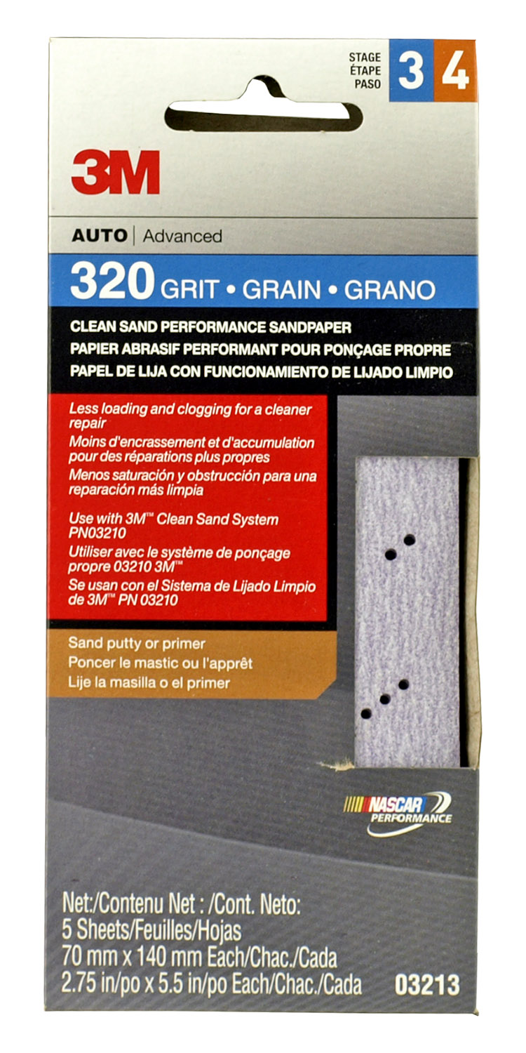5 - pk. 3M Advanced 320 Grit Stage 3 and 4 Clean Sand Performance Sandpaper