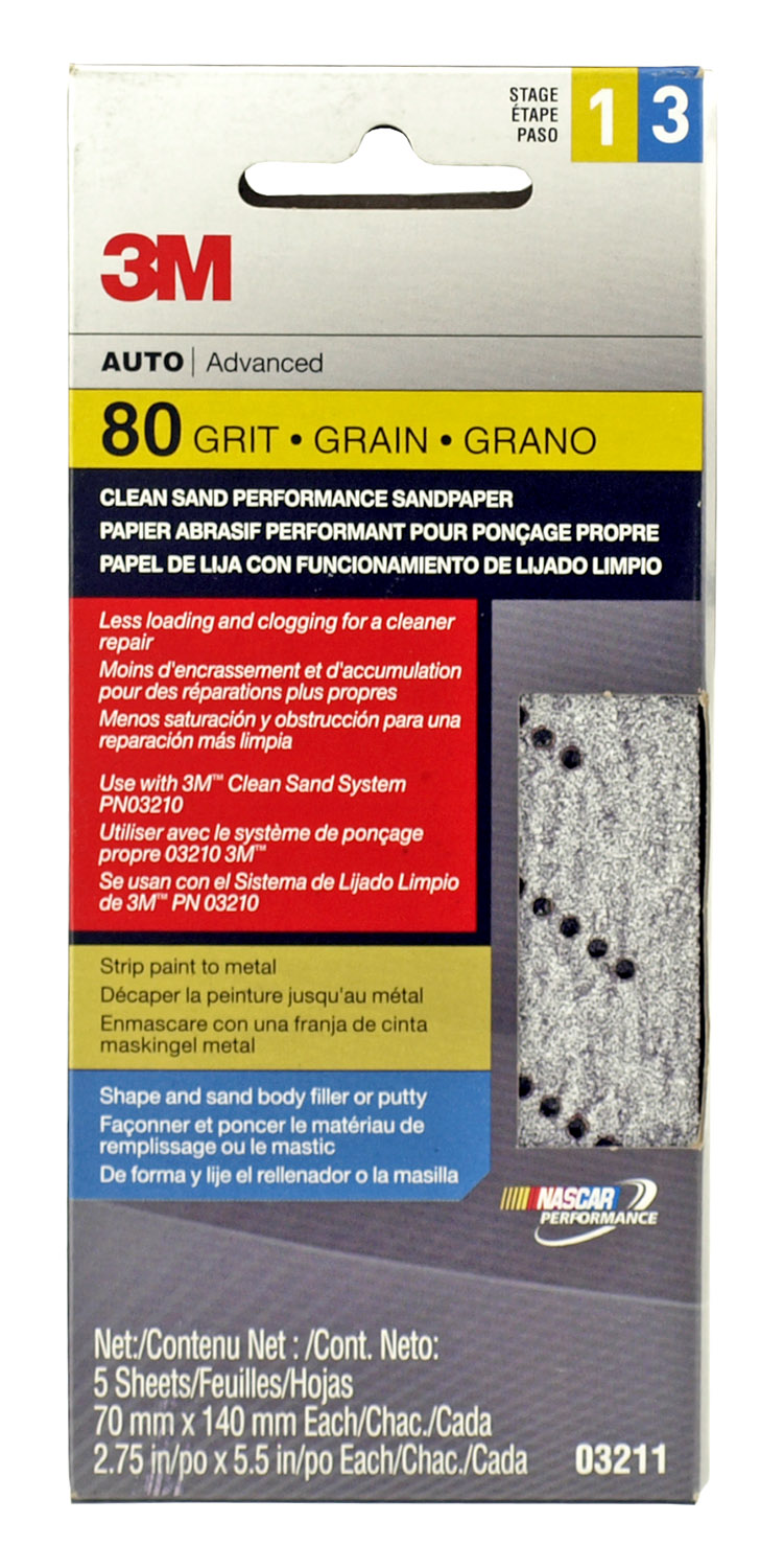 5 - pk. 3M Advanced 80 Grit Stage 1 and 3 Clean Sand Performance Sandpaper