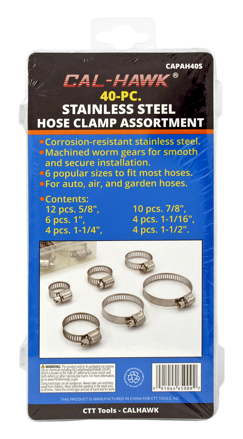 40 PC. Stainless Steel Hose Clamp Assortment - Cal-Hawk CAPAH405