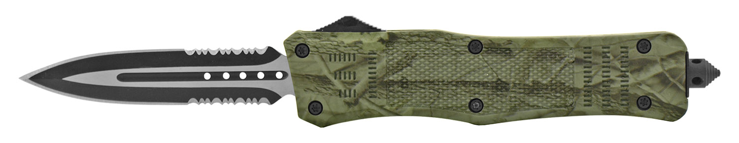 5.5 in Stainless Steel OTF Telescoping Out the Front Folding Pocket Knife - Forest Camo