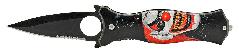 4.75 in Fighting Finger Grip Folding Pocket Knife - Joker Clown