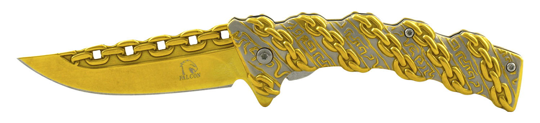 4.5 in Chain Gang Prison Shank Folding Pocket Knife - Gold
