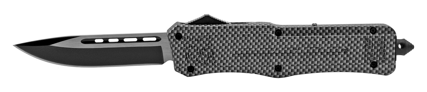 5.5 in Stainless Steel Out the Front Folding OTF Pocket Knife with Nylon Sheath - Carbon Fiber