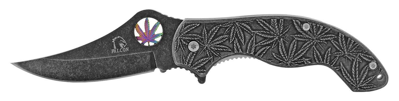4.25 in Stainless Steel Marijuana Folding Pocket Knife - Titanium