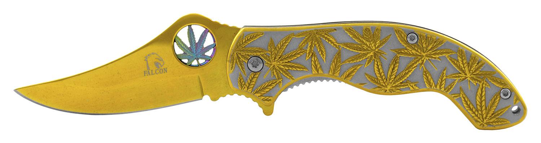 4.25 in Stainless Steel Marijuana Folding Pocket Knife - Gold