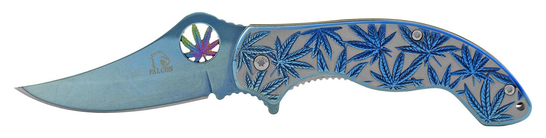 4.25 in Stainless Steel Marijuana Folding Pocket Knife - Blue