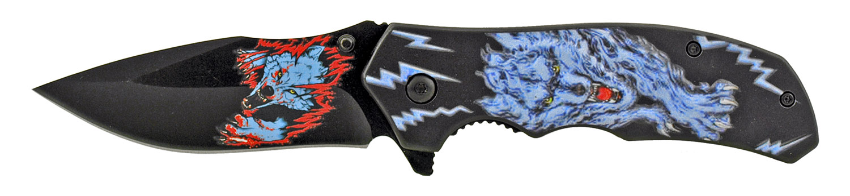 4.75 in Warewolf Folding Spring Assist Drop Point Pocket Knife - Blue