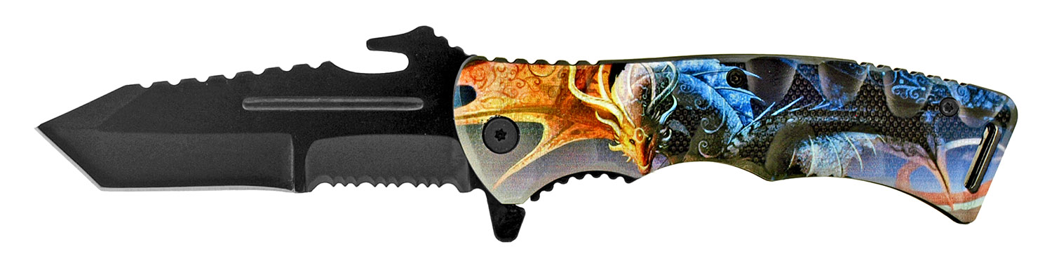 4.75 in Hunting and Fishing Spring Assisted Folding Pocket Knife - Fire and Ice Dragon