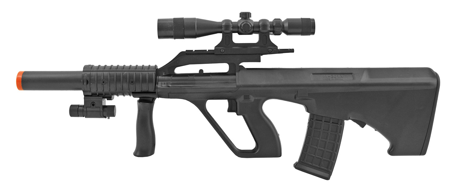 UK Arms P2300 Steyr Spring Powered Airsoft Rifle with Mock Scope and Laser