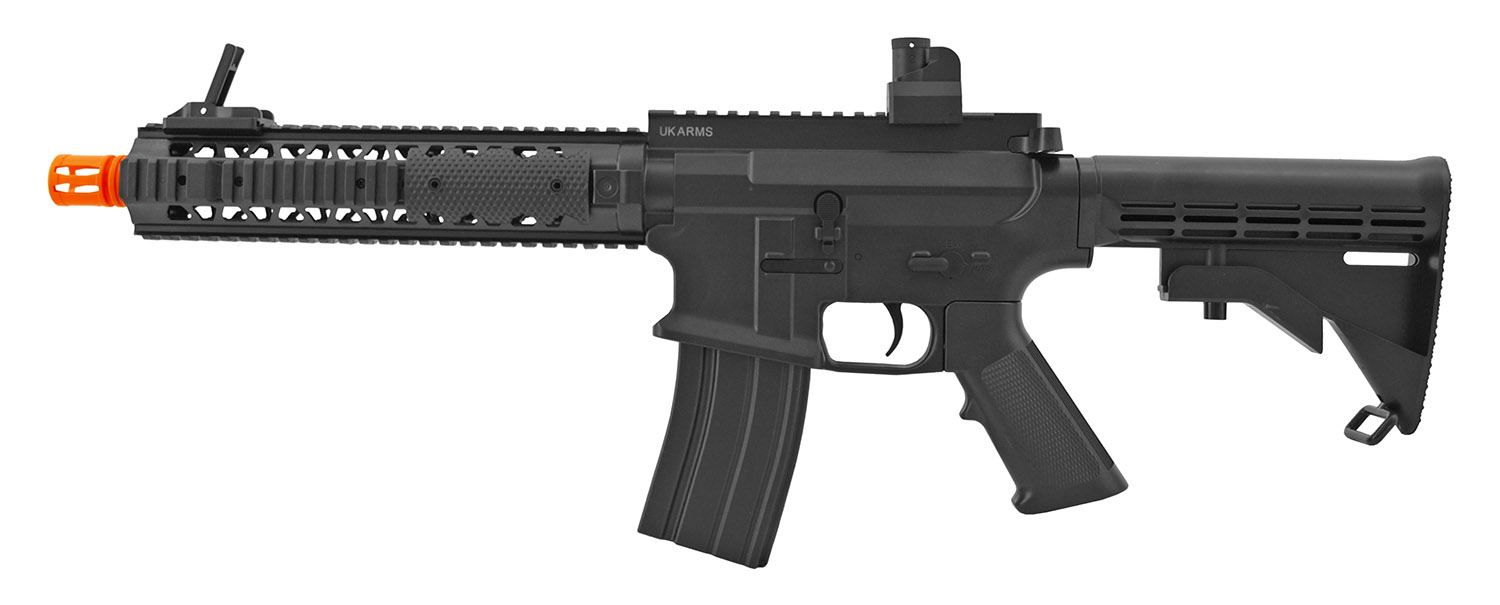 UK Arms P2210 M4 Quad RIS Spring Powered Airsoft Assault Rifle with Adjustable Stock